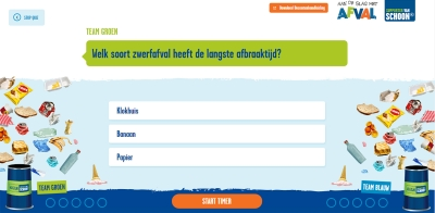 Zwerfafval Battle Quiz in de klas